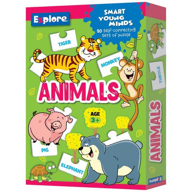 Shop 40pc Explore Self Correcting Kids Learning Animals ...