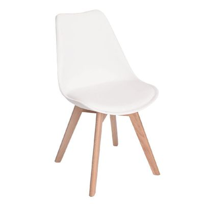 Incredible Living Co Dining Chair Padded Seat With Wooden Legs White Andrewgaddart Wooden Chair Designs For Living Room Andrewgaddartcom