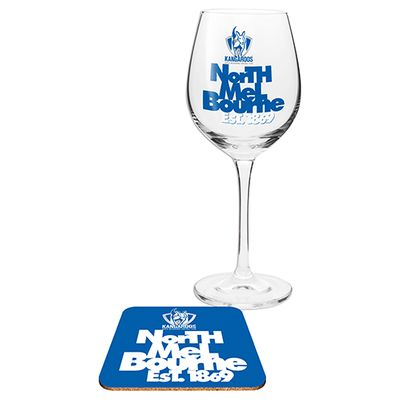 North Melbourne Kangaroos Afl Wine Glass And Coaster Gift Set Australian Football League Online Themarket New Zealand