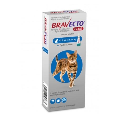 Bravecto Plus Flea, Tick & Worm Spot On Treatment for Cats (2.8kg - 6.25kg)