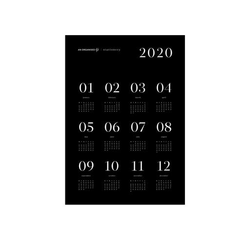 2020 A2 Black Calendar