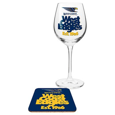 West Coast Eagles Afl Wine Glass And Coaster Gift Set Australian Football League Online Themarket New Zealand