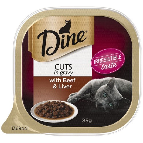 Dine Wet Cat Food Cuts In Gravy With Beef & Liver 85g Tray 85g