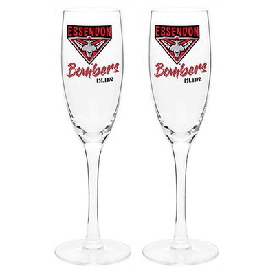 Essendon Bombers Afl Set Of 2 Champagne Glass Glasses Flute Sparkling Wine 210ml Australian Football League Online Themarket New Zealand